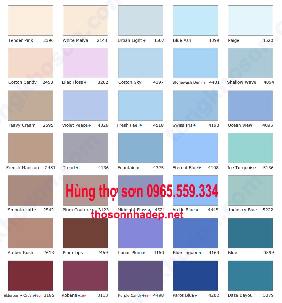 Bảng màu sơn nhà Jotun thợ sơn nhà 0965.559.334