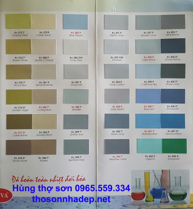 Bảng màu sơn nhà Kova thợ sơn nhà hà nội 0965.559.334